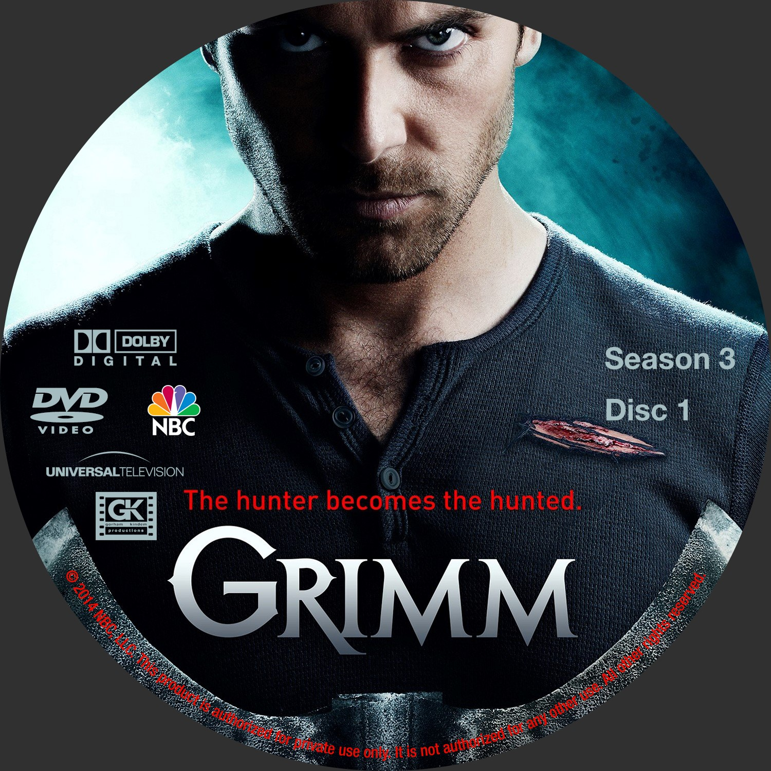 Label DVD Grimm Terceira Temporada D1 a D5