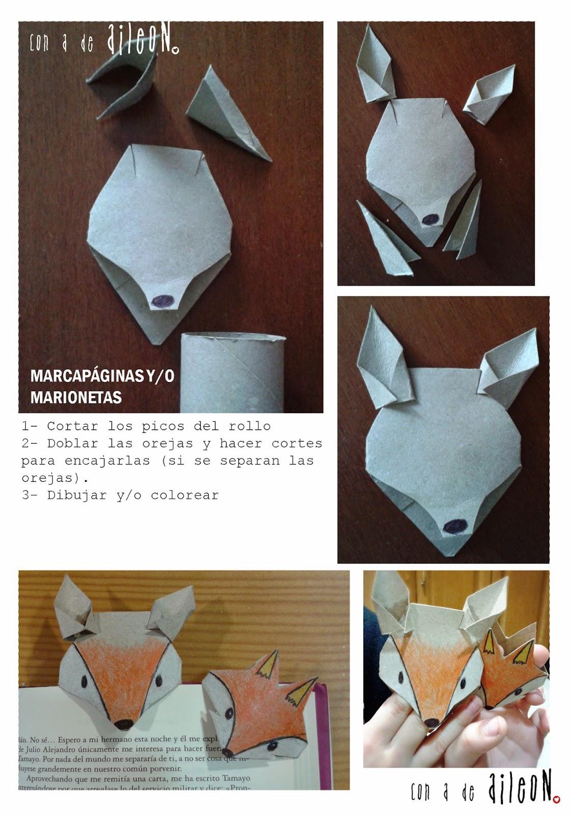 Marcapágina-marioneta zorro con tubos de cartón