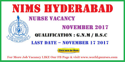 NIMS Hyderabad Junior Nurse Vacancy November 2017