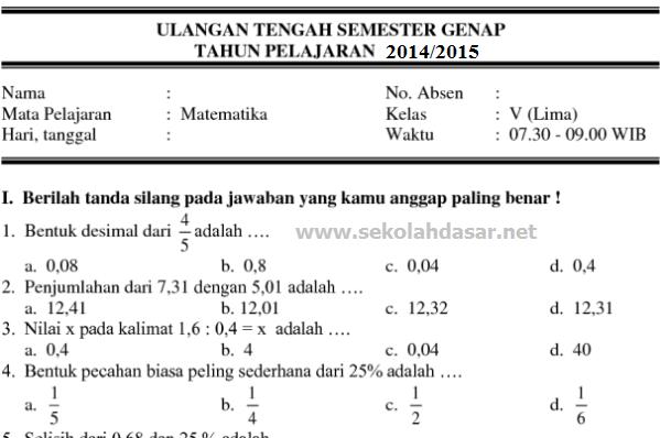 Soal UTS Semester 2 Kelas 1, 2, 3, 4, 5, dan 6 SD