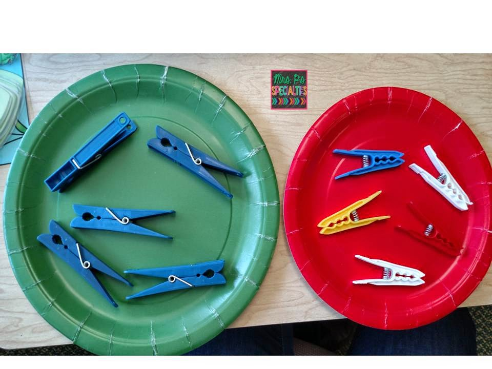 photo of clothespin sorting onto paper plates