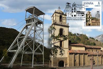 Tarjeta con sello personalizado y matasellos, del Pozo San Jerónimo y la Colegiata de San Pedro de Teverga, Grucomi 2011