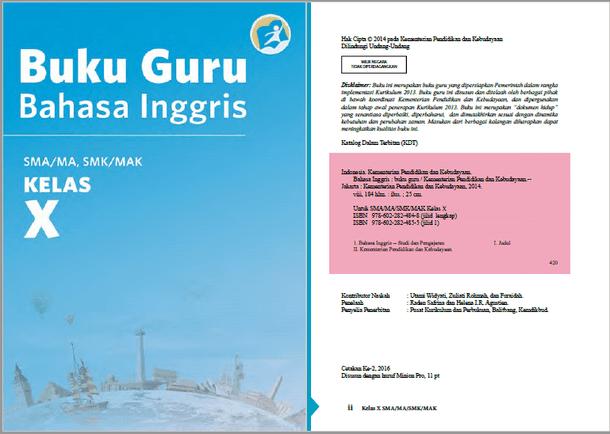 Buku Bahasa Inggris Guru dan Siswa Kelas 10 SMA MA SMK MAK Edisi Revisi 2016