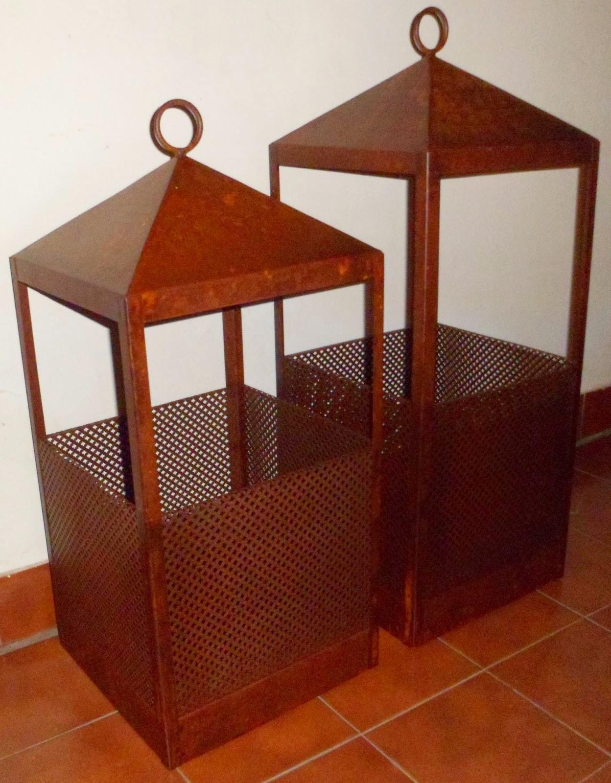 Bienvenidos a nuestro espacio...: Fanales y faroles en hierro oxidado