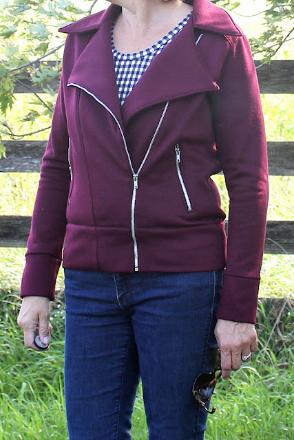 Indiesew pattern called Evergreen Jacket, a moto jacket made with a knit fabric and zippered pockets