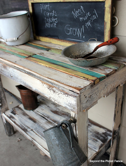 add a chalkboard to a potting bench