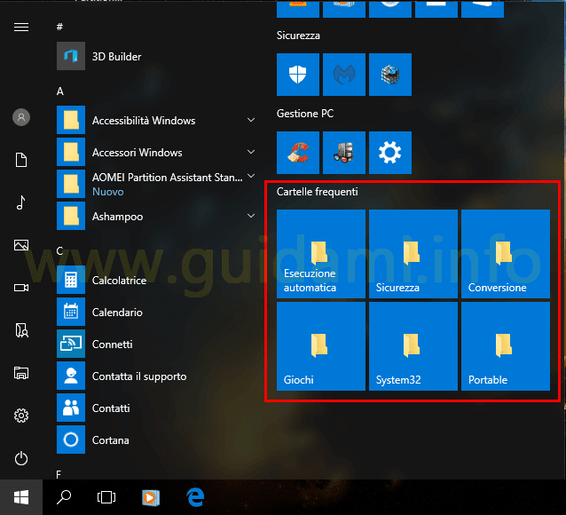 Windows 10 menu Start cartelle personali aggiunte al menu