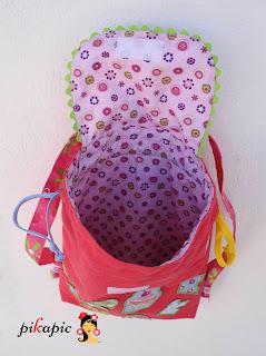 Interior mochila de tela personalizada Ainara Pikapic
