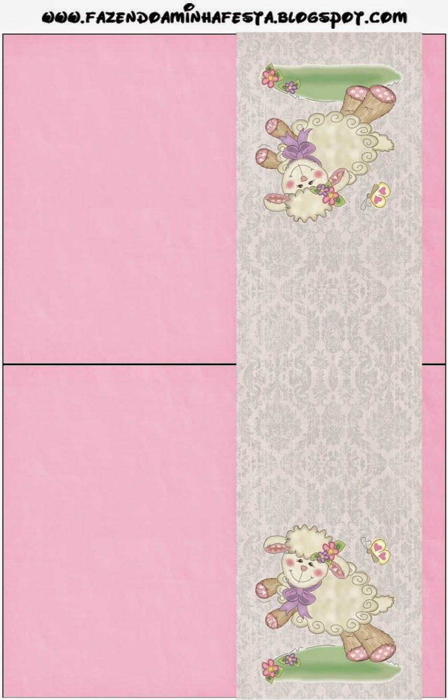 Etiquetas de Ovejita en Fondo Rosa para imprimir gratis.