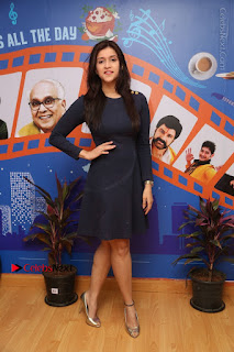 Actress Mannara Chopra Stills in Blue Short Dress at Rogue Song Launch at Radio City 91.1 FM  0075.jpg