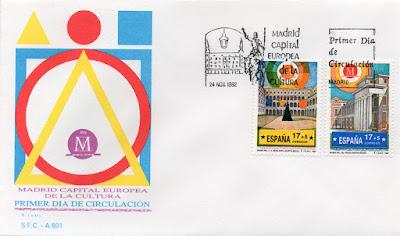 Sobre Primer Día de Circulación de los sellos dedicados al Museo Reina Sofia y al Museo del Prado de la serie Madrid, Capital Europea de la Cultura, 1992