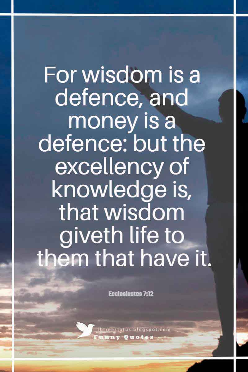 """For wisdom is a defense, and money is a defense: but the excellency of knowledge is, that wisdom gives life to them that have it.""― Ecclesiastes 7:12"