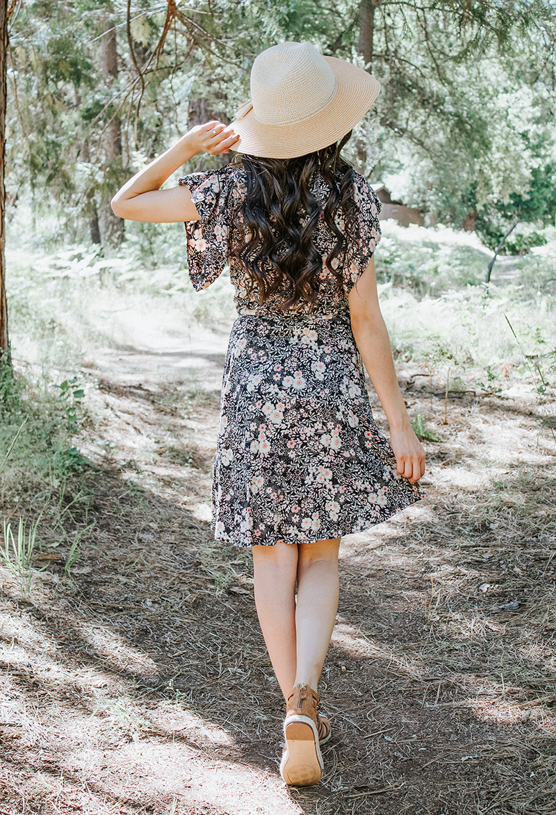 vintage style modest wrap dress refashion