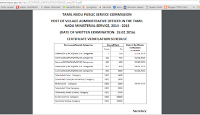 TNPSC VAO 2016 Certificate Verification Dates
