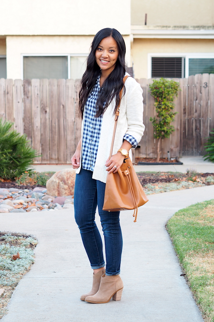 navy gingham + jeans + taupe booties + cream cardigan