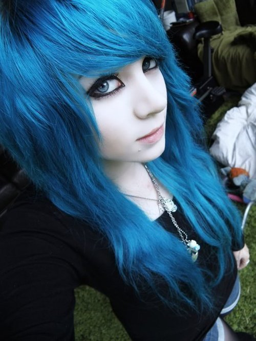Emo girls with blue hair