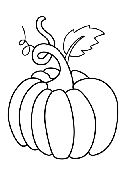 Pumpkin vegetable coloring page for kids