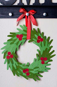 easy handprint green wreath with berries paper decoration preschoolers and toddlers christmas craft