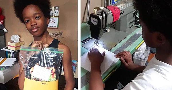 Obocho Peters, 11-year old thrift store owner now sewing