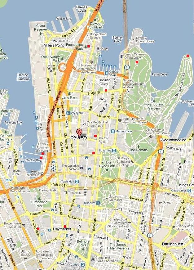 map sydney city centre