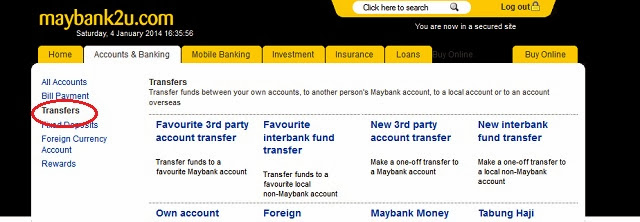 Step 1 to access the Cardless Withdrawal screen in Maybank2u would be to login and click on 'Transfers'