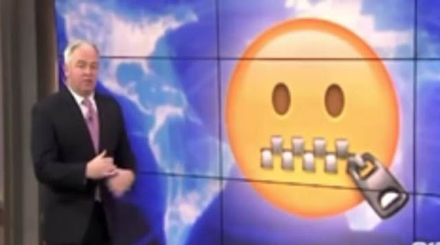 elderly news anchor 'decoding' emojis