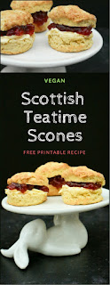 Light and fluffy Scottish scones with a good rise made to a vegan recipe. Perfect for a teatime treat with dairy free spread and jam. Free printable recipe. #scones #scottishscones #veganscones #veganbaking #scottish #vegan