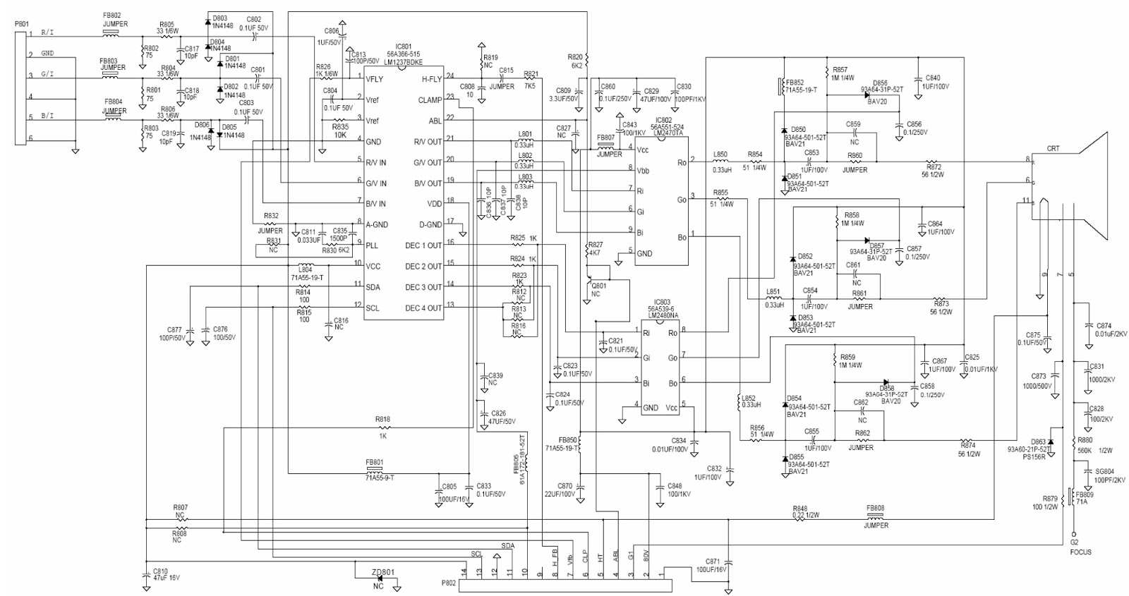 HP 7540  17 inch CRT monitor  Circuit Daigram | Schematic Diagrams