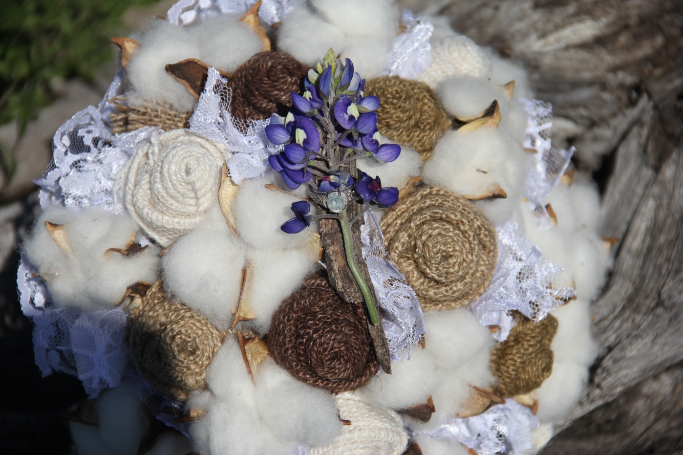 Burlap Cotton and Lace Wedding Bouquet