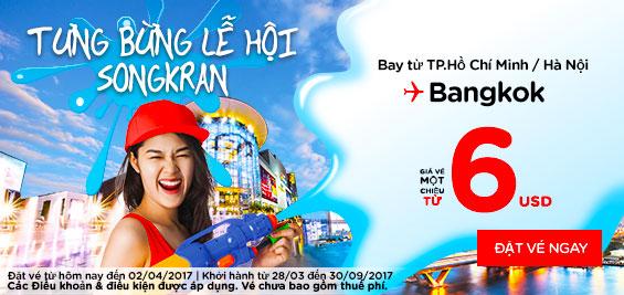 vé hãng Air Asia vui lễ hội songkran giá 6 usd