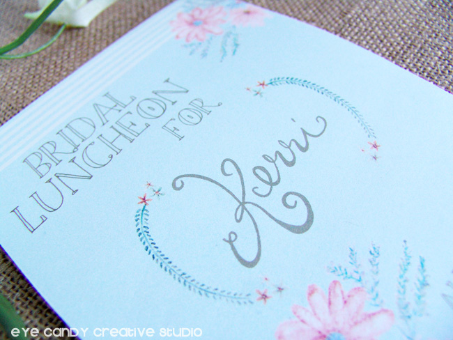 hand lettered design, watercolor flowers, rustic shower, bridal shower