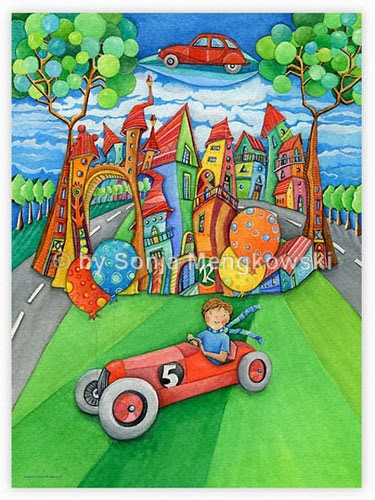 Kinderzimmer Bild - die fliegende Seifenkiste