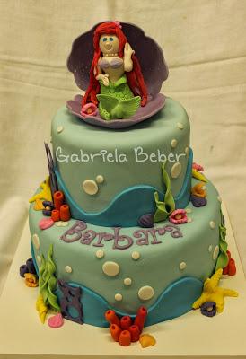 Bolo Personalizado Ariel da Gabriela Béber
