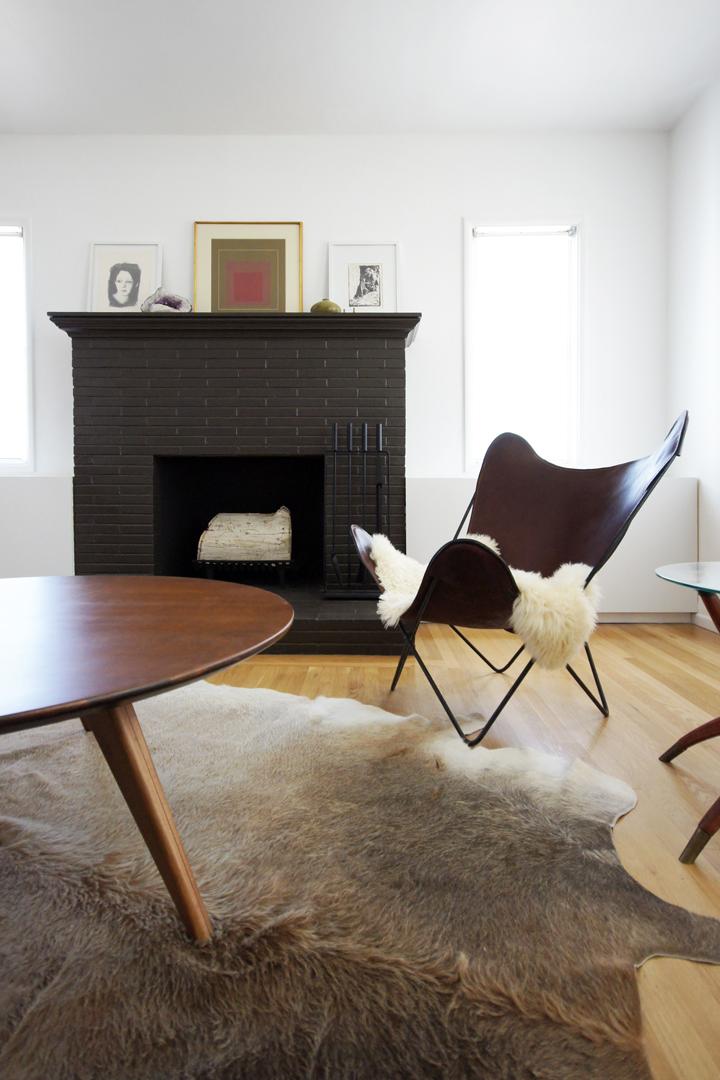 black-brown brick fireplace