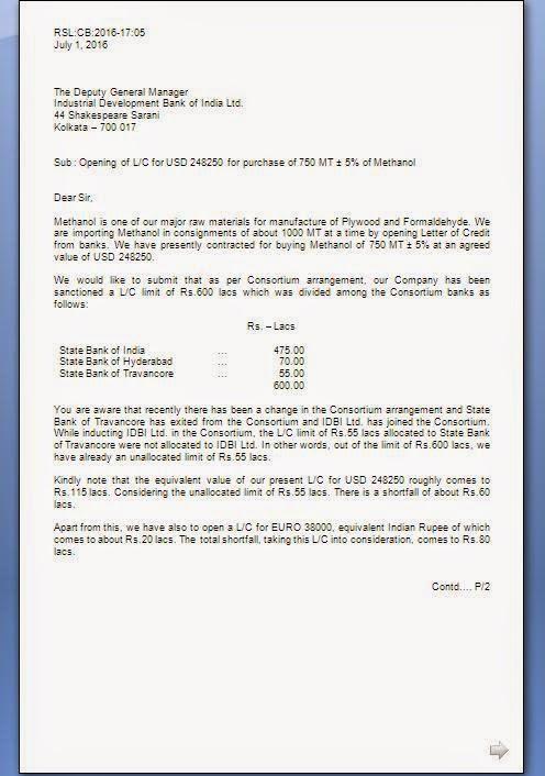 LC Limit Letter