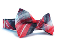 Red White Blue Plaid Dog Collar and Bow Tie from WagglesandCompany on Etsy