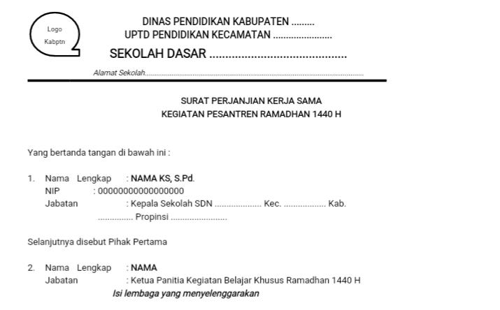 Contoh Mou Kerjasama Pesantren Ramadhan 1440 H Opspwk Webid