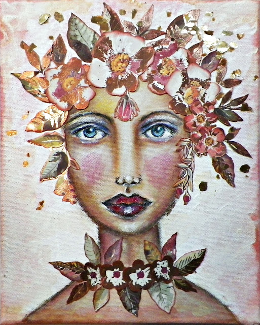 "portrait painting by Lisa Novogrodski using the September Scraps of Darkness Kit ""Blush"""