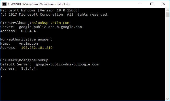 Cách chặn trang web đen bất kỳ bằng file Hosts nslookup