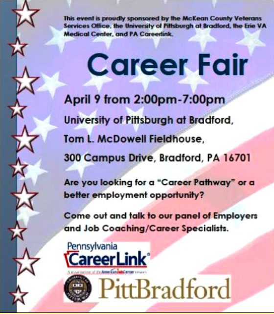 Cameron County PA News: Career Fair in nearby Bradford, PA