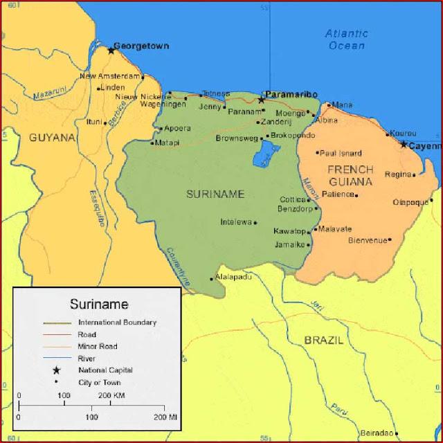 Gambar Peta Suriname