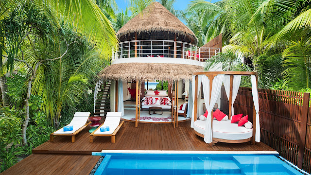 W Maldives, Fesdhoo Island, Wonderful Beach Oasis Villa, Outdoor Lower Deck und Pool