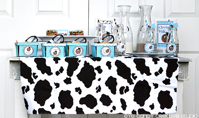 milk and cookies bar, grad party ideas, end of school party, blue & brown