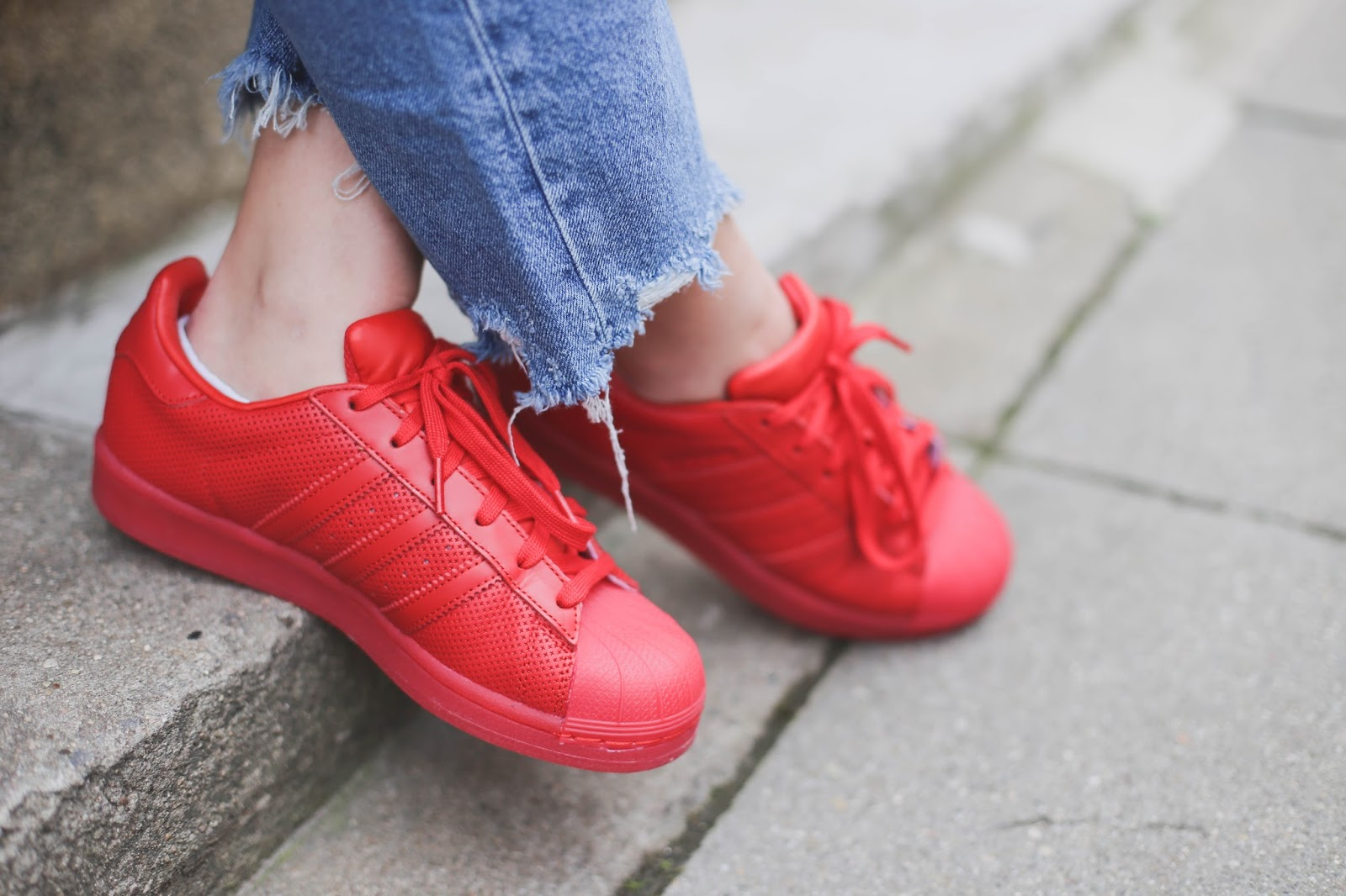 the red adidas superstar