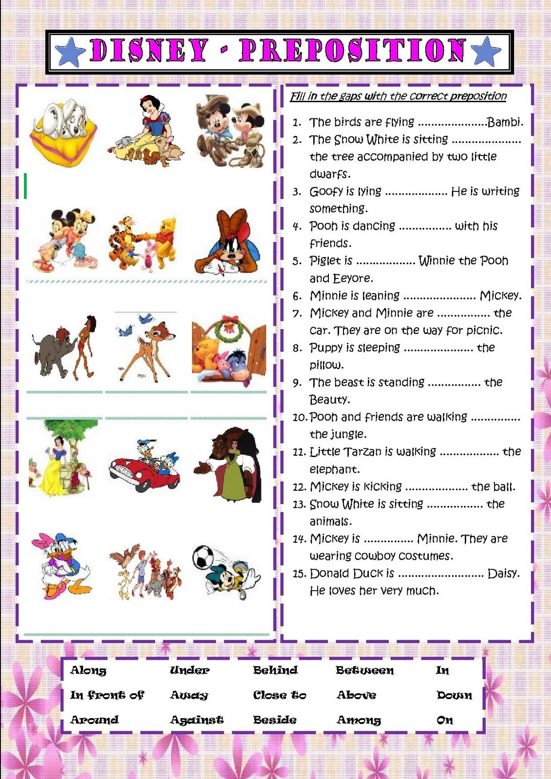 Preposition In Learn In Marathi All Complate: My English Class: Simple Worksheet Of Preposition Of Place