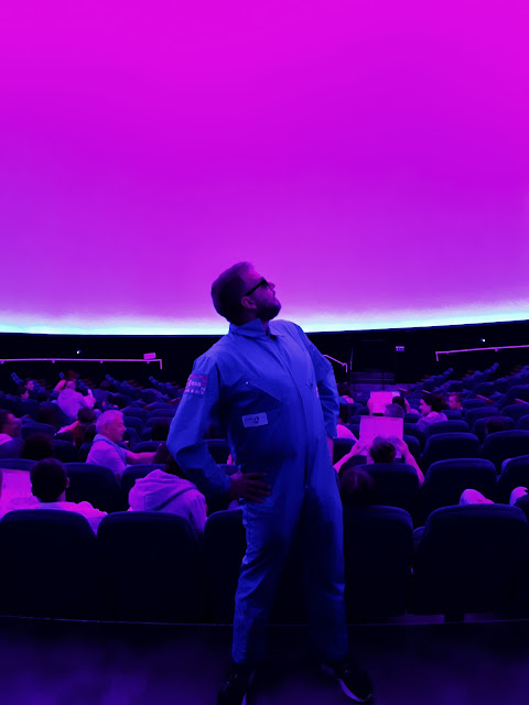 Watching a space film at IMAX at la cite de l'espace in Toulouse