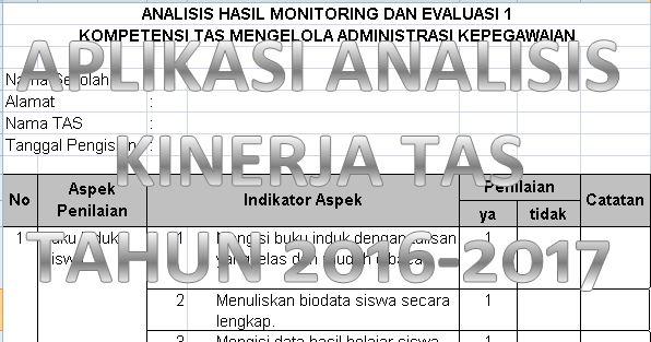 Download Aplikasi Analisis Kerja Tenaga Administrasi Sekolah Tahun Ajaran 2016-2017 dengan Microsoft Excel