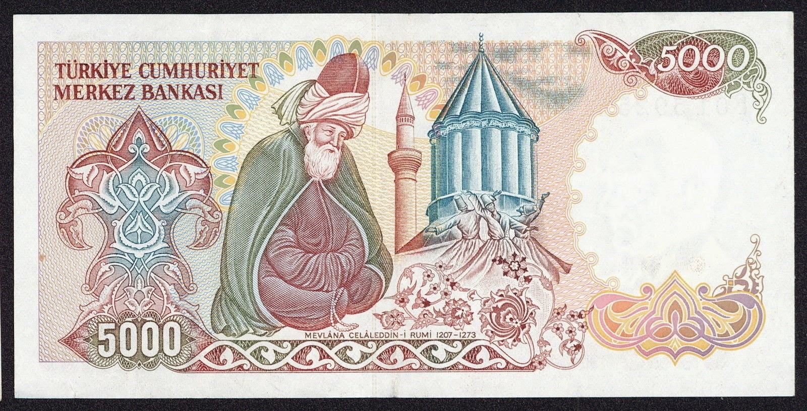 "Turkey currency money 5000 Turkish Lira ""Türk Lirasi"" note Mevlana Museum in Konya and a figure of Mevlana"