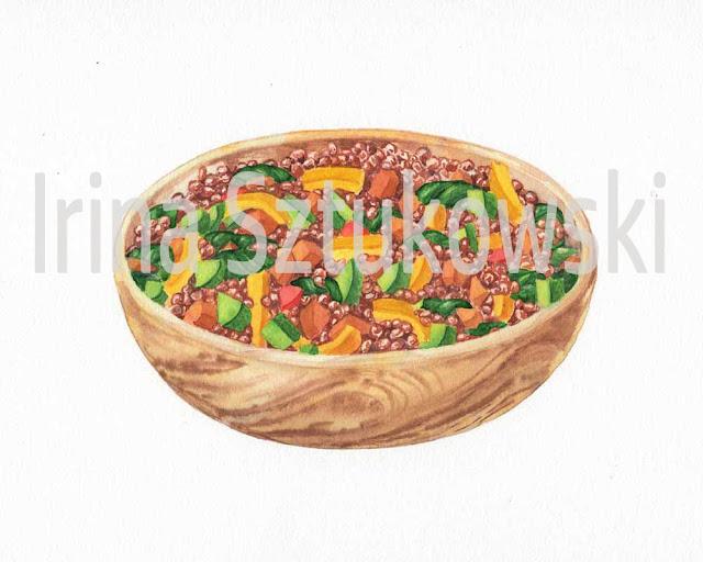 watercolour lentil wooden bowl realistic painting