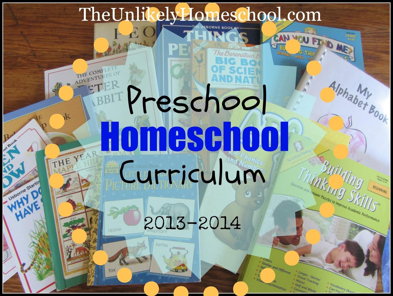 the unlikely homeschool: preschool homeschool curriculum 2013-2014